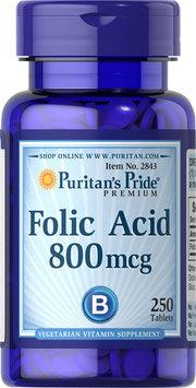 Puritan's Pride 2 Units of Folic Acid 800 mcg-250-Tablets