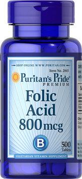 Puritan's Pride 2 Units of Folic Acid 800 mcg-500-Tablets