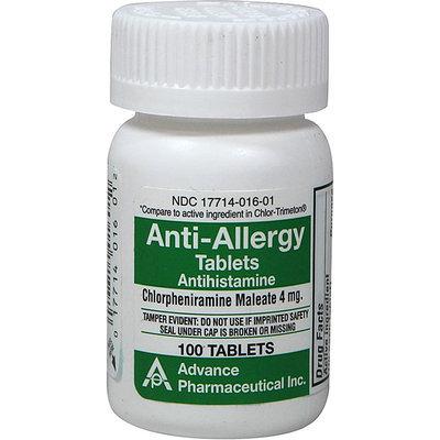 Advanced Pharmaceutical Inc. Anti-Allergy Antihistamine Chlorpheniramine Maleate 4 mg-100 Tablets