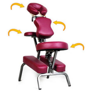 Royal Massage Ataraxia Deluxe Portable Folding Massage Chair w/Carry Case & Strap - Burgundy