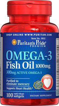 Puritan's Pride Omega-3 Fish Oil 1000 mg (300 mg Active Omega-3)-100 Softgels
