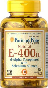 Puritan's Pride 2 Units of Vitamin E-with Selenium 400 IU/50 mcg Natural -250-Softgels