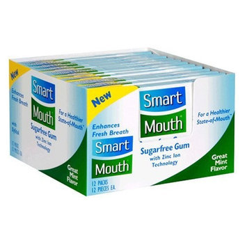 SmartMouth Sugarfree Gum, Great Mint Flavor, 12 count packs (Pack of 12)