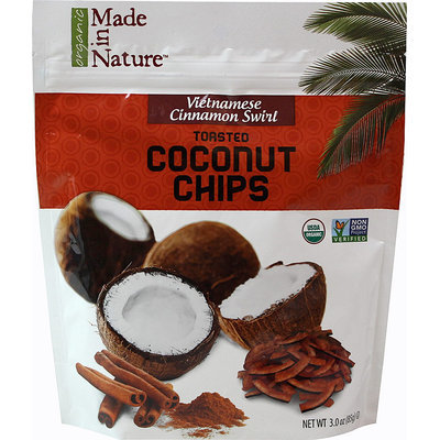 Made In Nature 3 oz. Vietnamese Cinnamon Swirl Toasted Coconut Chips - Case Of 6
