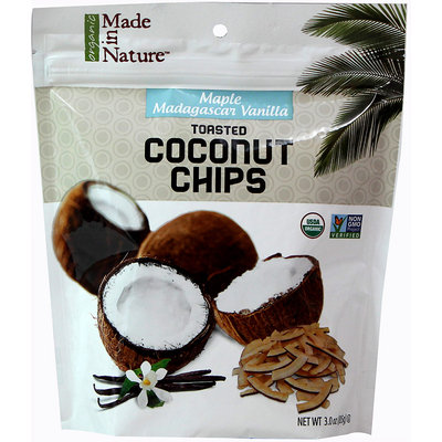 Made In Nature 3 oz. Maple Madagascar Vanilla Toasted Coconut Chips - Case Of 6