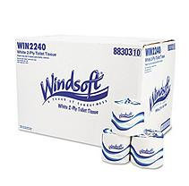 Windsoft WIN 2240 Single Roll Bath Tissue Two-Ply 4.5 in. x 3.75 in. - White