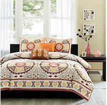 Suite Creations Medallion Bedding Set - Full / Queen - Orange - 5 pc.