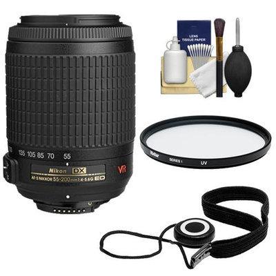 Nikon 55-200mm f/4-5.6G ED IF AF-S DX VR Telephoto Zoom Nikkor Lens + Filter + Kit for D3100, D3200, D3300, D5100, D5200, D5300, D7000, D7100 DSLR Cameras with NIKON USA Warranty