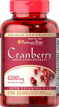 Puritan's Pride 2 Units of Cranberry Fruit Concentrate with C & E 4200 mg-250-Softgels