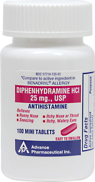 Otc Antihistamine Diphenhydramine HCl 25mg Allergy Relief 100 Mini Tablets