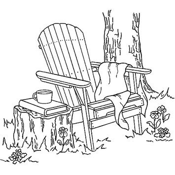 Inky Antics Mounted Rubber Stamp 3X3.25-Adirondack Chair 036998 Stampers Anonymous