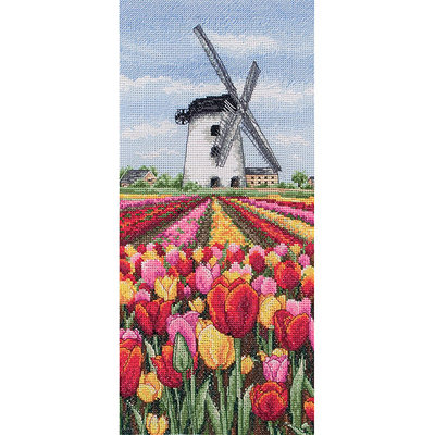 Maia Dutch Tulips Landscape 16-Count Cross Stitch Kit, 12-1/2