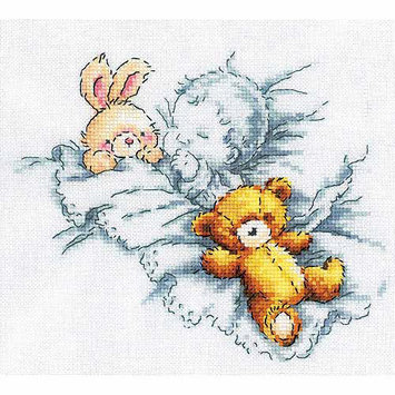 RTO Baby with Rabbit and Teddy Bear I Counted Cross Stitch Kit