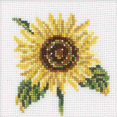 Rto Sunflower Counted Cross Stitch Kit-4X4 14 Count