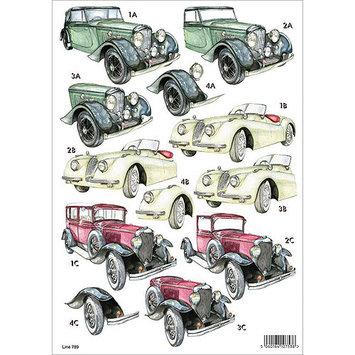 Craft UK 704 3-D Die-Cut Decoupage Sheet-Monochrome Cars - 10 Sheets