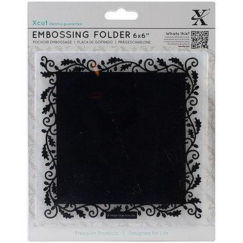 docrafts XC515140 Xcut Universal 6X6 Embossing Folder-Oak Border Frame