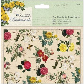 docrafts PM150122 Papermania Botanicals Cards/Envelopes A6 12/Pkg