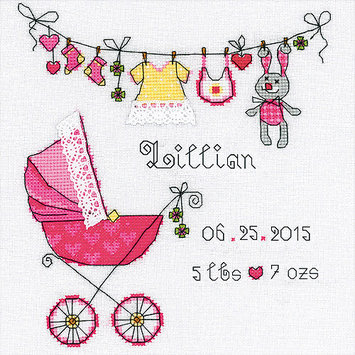 Riolis Its A Girl! Birth Record Counted Cross Stitch Kit-8X8 28 Count