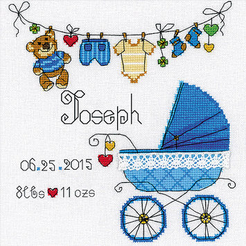 Riolis Its A Boy! Birth Record Counted Cross Stitch Kit-8X8 28 Count