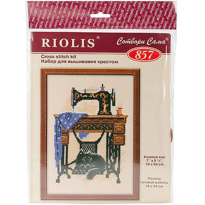 Riolis Cat With Sewing Machine Counted Cross Stitch Kit-7.125