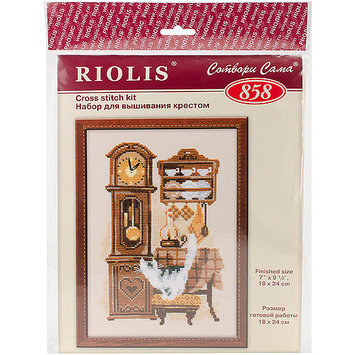 Cat With Clock Counted Cross Stitch Kit-7.125X9.5 15 Count 274934 RIOLIS