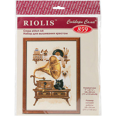 Cat With Gramophone Counted Cross Stitch Kit-7.125X9.5 15 Count 274935 RIOLIS