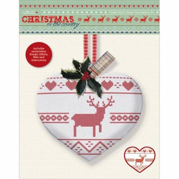 docrafts PM106101 Papermania Christmas In The Country Stamped Cross Stitch Kit-Heart With Stag