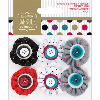 docrafts PM358013 Papermania Spots-Stripes Jewels Mini Fabric Flowers-Pleated With Button Middles 6-Pkg