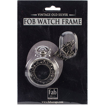 Fabscraps ME304 Old Silver No Mechanism FOB Watch with Chain Embellishment-Medium