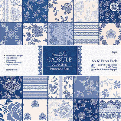 docrafts PM160219 Papermania Parisienne Blue Paper Pack 6 in. X6 in. 32-Sheets