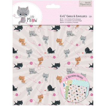 docrafts Papermania Little Meow Cards with Envelopes, 6 by 6 324244 DOCrafts