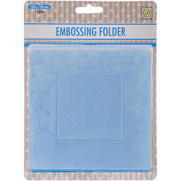 Ecstasy Crafts EFE006 Nellies Choice Spring In The Air Embossing Folder 5 in. x 5 in-Square Frame with Square Opening