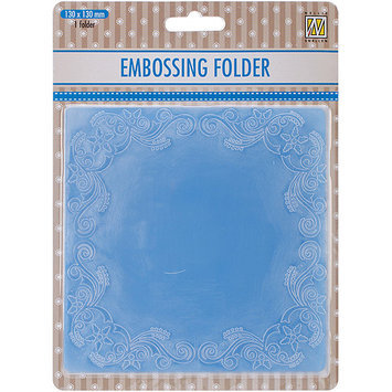 Ecstasy Crafts EFE011 Nellies Choice Embossing Folder 5 in. x 5 in-Christmas Flower Frame Square