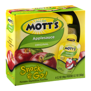 Mott's Snack & Go! Portable Applesauce Pouches Original - 4 CT
