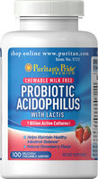 Puritan's Pride 2 Units of Probiotic Acidophilus Chewables Strawberry-100-Strawberry-Wafers