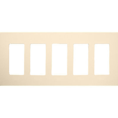 Morris Products 5 Gang Decorator Screwless Snap in Wall Plates in Almond