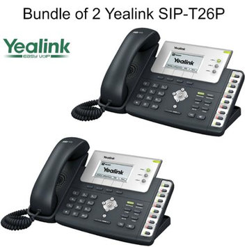 Yealink SIP-T26P, Bundle of 2 Advanced VoIP Phone w/ POE, w/o Power Supply