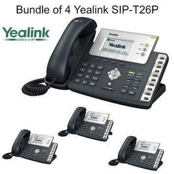 Yealink SIP-T26P, Bundle of 4 Advanced VoIP Phone w/ POE, w/o Power Supply