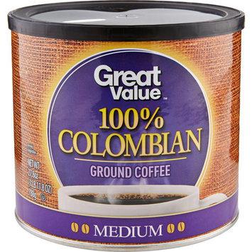 Great Value 100% Colombian Medium Ground Coffee, 27.8 oz
