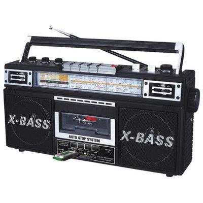 QFX J-22U-BLK Retro Collection Boom Box - Black - Full World Band Stereo - MP3 Converter to USB & SD