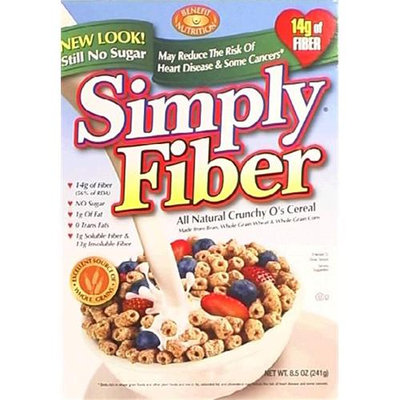 Benefit Nutrition Simply Fiber All Natural Crunchy Os 8.5 - Ounce Boxes Pack of 6