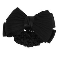 Unique-bargains Black Bowknot Decor Snood Net Barrette Hair Clip Bun Cover