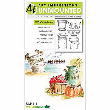 Art Impressions Watercolor Cling Rubber Stamp-Series 6 Set 1