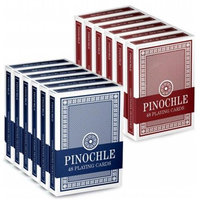 Bry Belly GCAR-203 12 Pack of Pinochle Playing Cards - 6 Red-6 Blue