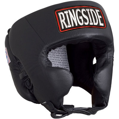 Ringside Competition Boxing Headgear with Cheeks (Black, Small)