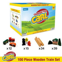 Brybelly Conductor Carl Wooden Train TCON-201 Conductor Carl 100 Piece Wooden Train Set