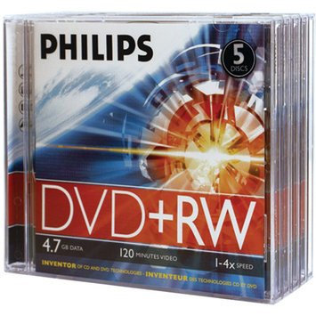 Philips DW4S4J05F/17 4.7GB 4x DVD+RW with Jewel Cases 5 pk