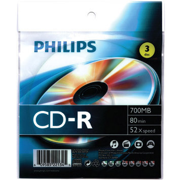 Philips 700MB 80-Minute 52x CD-Rs with Foil Wrap - 3/Pack