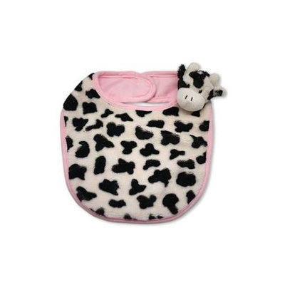 Babymio Mooky the Cow Bib - Pink/Black/White