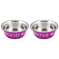 Buddy's Line Food & Water Set Large 2qt-Fuchsia